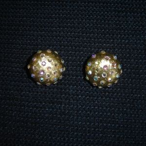 Jewelry - Rhinestone Studded Gold Dome Clip-on Earrings